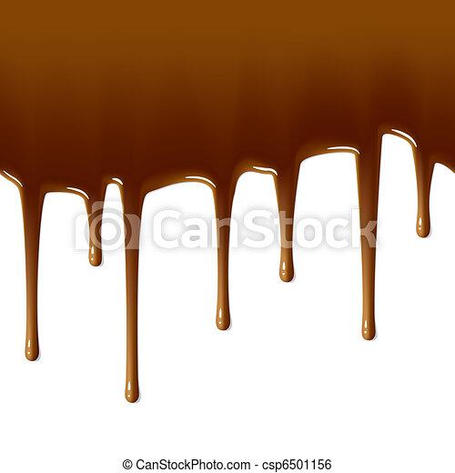 Milk chocolate drips. Seamless. - csp6501156
