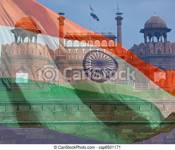 A composite of two photos taken by the author. India flag and Red Fort in New Delhi. - csp6501171