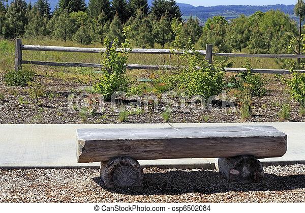 stock foto von holzstamm bank verwittert wohnung sitzpl tze gemacht csp6502084. Black Bedroom Furniture Sets. Home Design Ideas