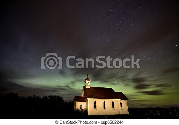 Country Church Night Photography - csp6502244