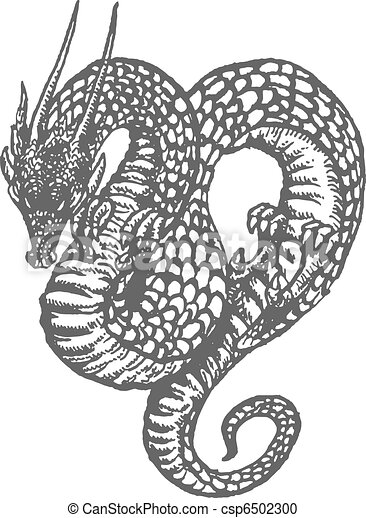 Oriental Dragon Ink Drawing - csp6502300