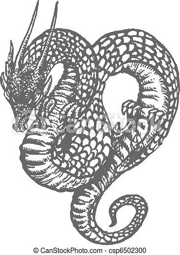 Oriental Dragon Ink Drawing - csp6502300