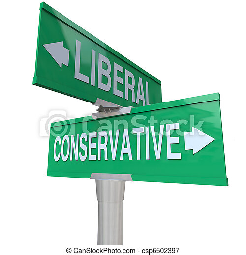 Liberal Versus Conservative Two Way Signs 2 Party System - csp6502397