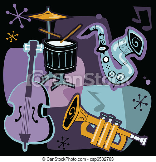 Vectors of Retro Jazz Instruments - Retro style vector ...