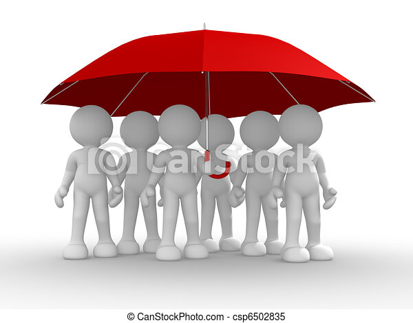 Group of people under the umbrella - csp6502835