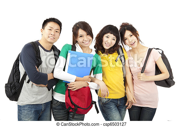 four young happy students - csp6503127