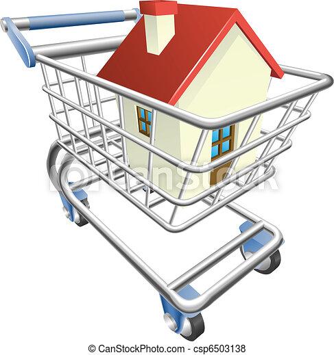 House shopping cart concept - csp6503138