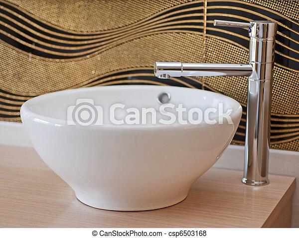 Plaatjes van badkamer, wasbak, kraan - wasbak, badkamer, kraan, houten ...
