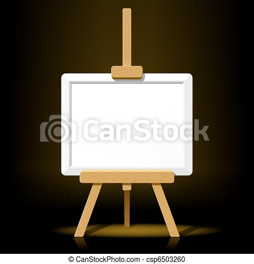 Wooden easel with blank canvas - csp6503260