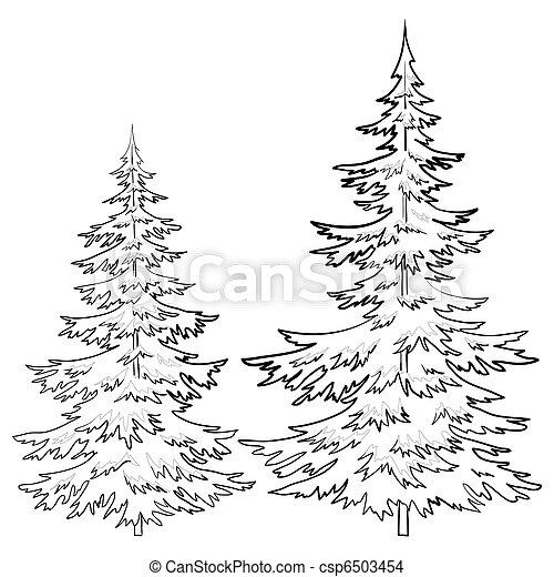 zbiory zdjęć komplet furtrees drzewa las kontur