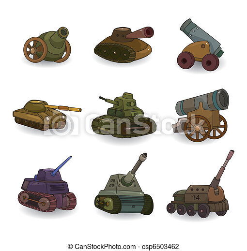 cartoon Tank/Cannon Weapon set icon - csp6503462