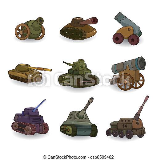cartoon Tank/Cannon Weapon set icon - csp6503462