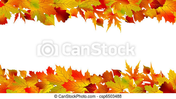 Colorful autumn border made from leaves. EPS 8 - csp6503488