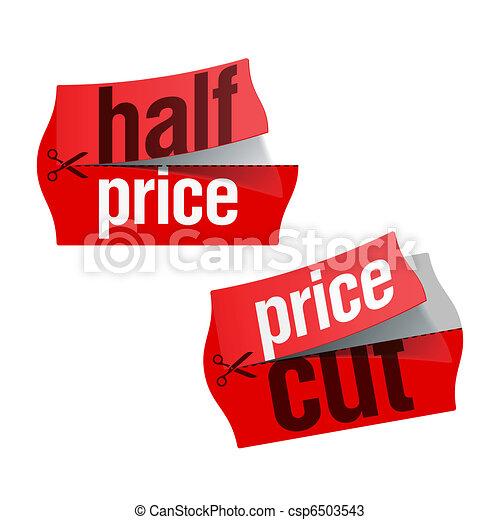 Price cut and Half price stickers - csp6503543