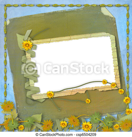 Grunge papers design in scrapbooking style with frame and bunch of flowers - csp6504209