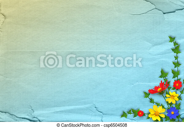 Grunge papers design in scrapbooking style with bunch of flowers - csp6504508