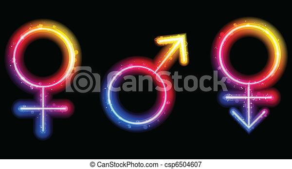 Male, Female and Transgender Gender Symbols Laser Neon - csp6504607