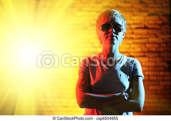 Super-hero woman portrait - csp6504955