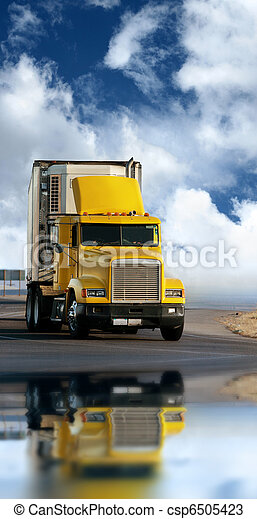 Big yellow trailer on the road - csp6505423