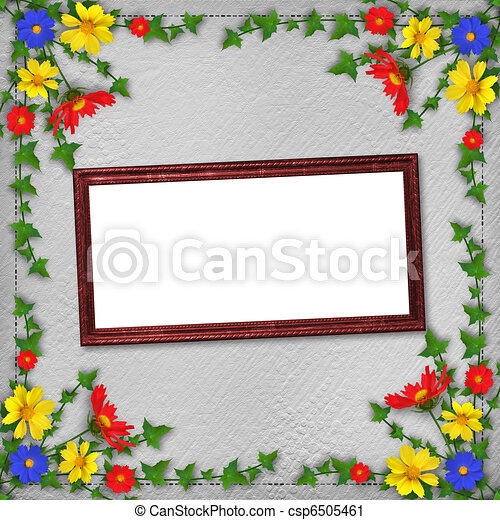 Grunge wooden frame  in scrapbooking style with bunch of flowers - csp6505461