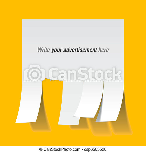 Blank advertisement with cut slips - csp6505520
