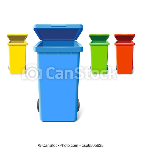 Colorful recycling bins - csp6505635
