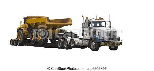Stock Image of flatbed truck with large dump truck - drop deck ...