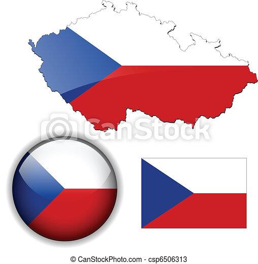 Czech Republic  flag, map and gloss - csp6506313