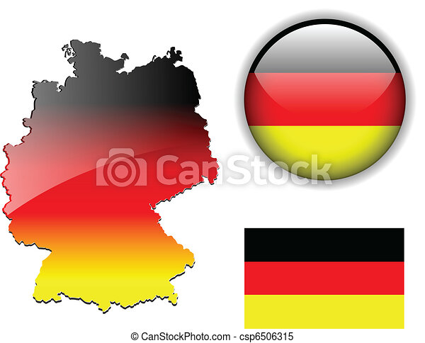 German, Germany flag, map and gloss - csp6506315