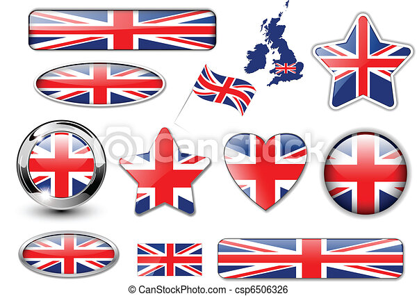 England, United Kingdom flag button - csp6506326