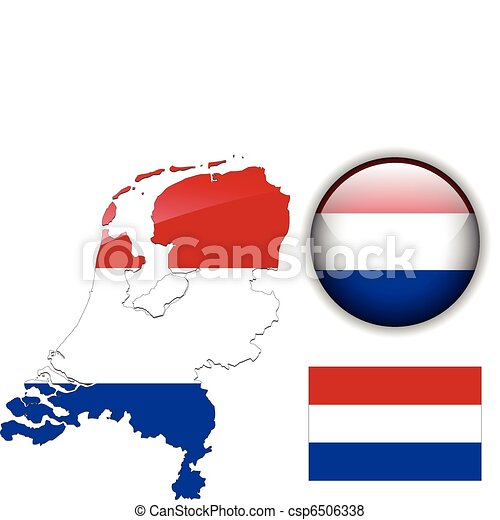 Holland flag, map and glossy button - csp6506338