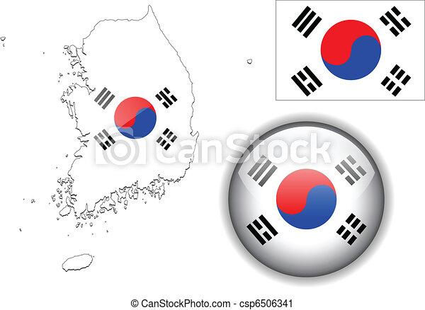 South Korea flag, map and glossy  - csp6506341