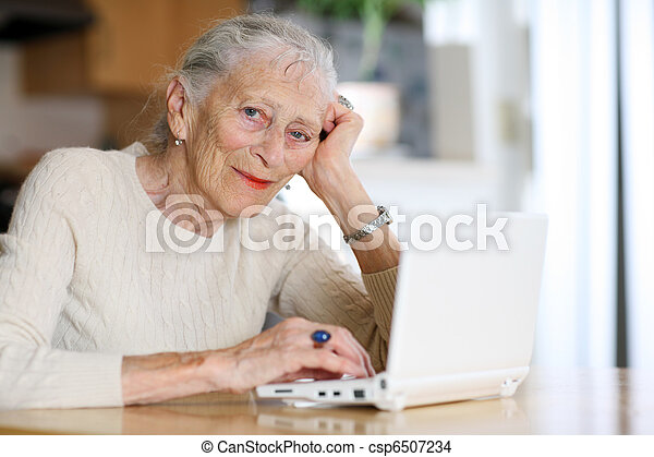 Elderly woman typing with computer at home - csp6507234