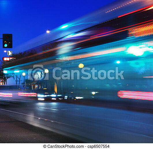 Speeding bus, blurred motion - csp6507554