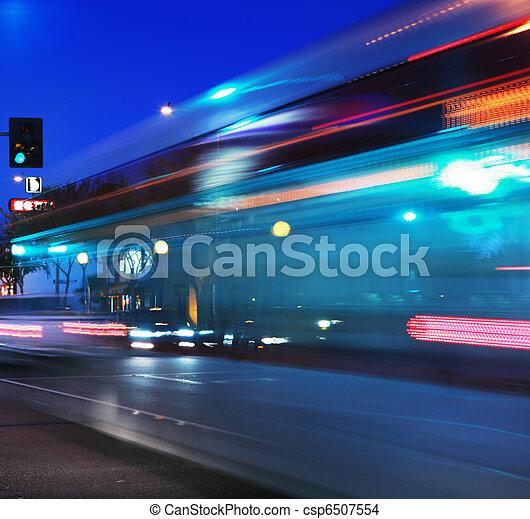 Speeding bus, blurred motion - csp6507554