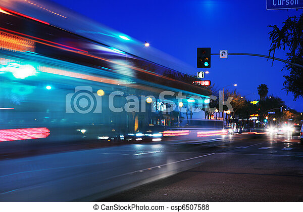 Speeding bus, blurred motion - csp6507588