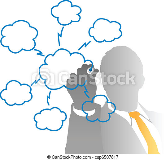 Business IT manager drawing cloud computing chart - csp6507817