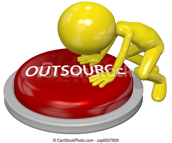 Business person cartoon push OUTSOURCE button concept - csp6507829