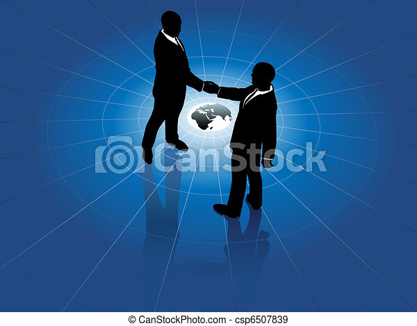 Global business men handshake world agreement - csp6507839