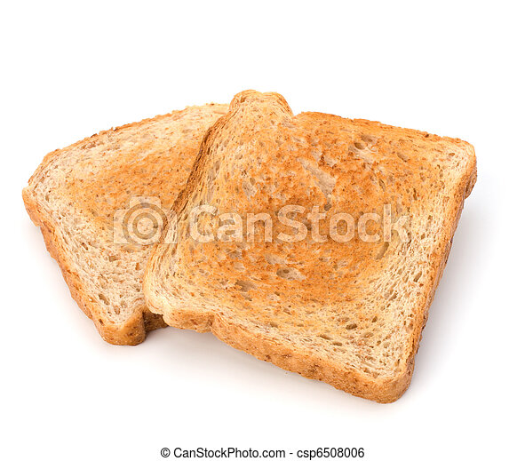 Crusty bread toast slice isolated on white background - csp6508006