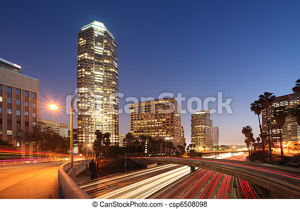Freeway traffic in downtown Los Angeles - csp6508098