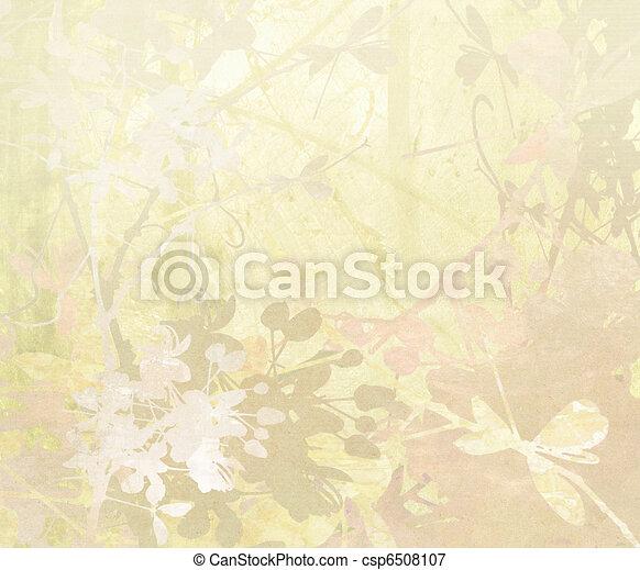 Pastel Flower Art on Paper Background - csp6508107