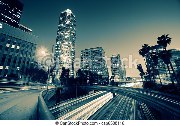 Freeway traffic in downtown Los Angeles - csp6508116