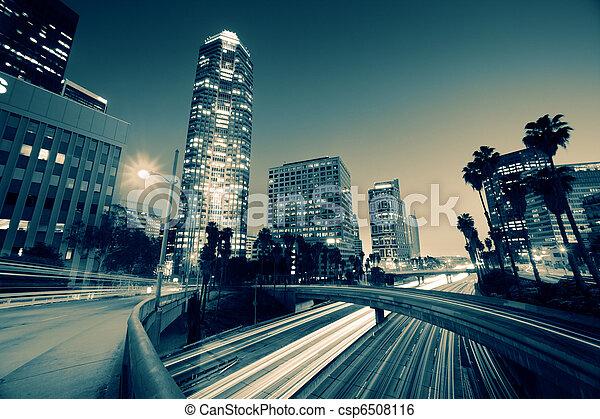Freeway traffic in downtown Los Angeles - csp6508116