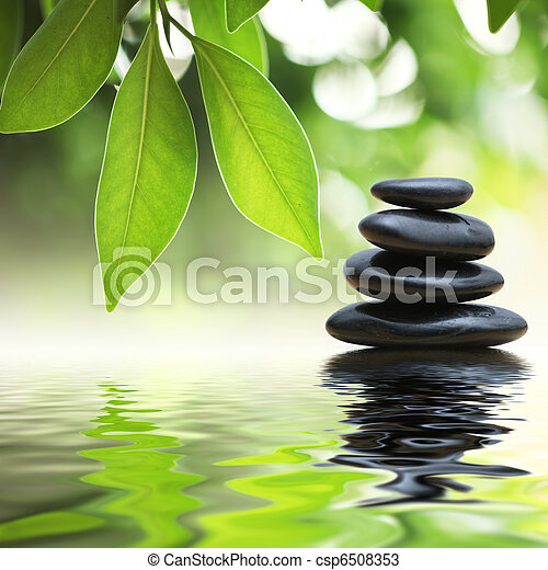 Zen stones pyramid on water surface - csp6508353
