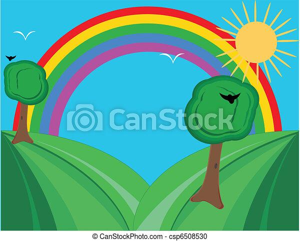 Hills and rainbow, brighten the da - csp6508530