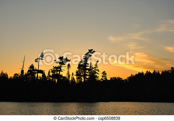 Sunset on a Remote Wilderness Lake - csp6508839