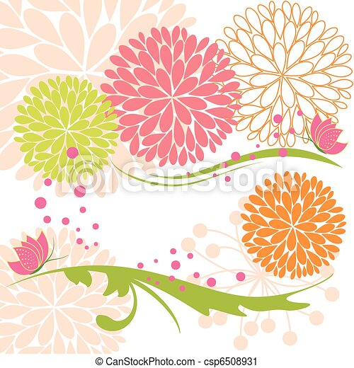 Abstract springtime colorful flower and butterfly - csp6508931