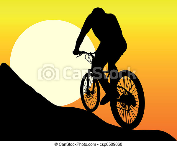 silhouette of a mountain  biker - csp6509060