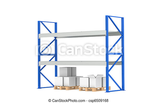 Warehouse Shelves. Low Stock Level. Part of a Blue Warehouse and logistics series. - csp6509168